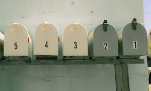 row of numbered letterboxes